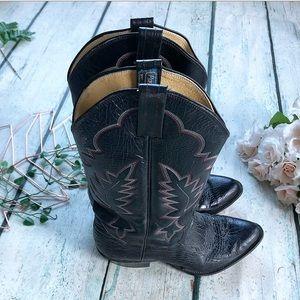 Panhandle slim cowboy boots 38 EE black leather